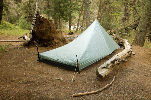 The TarpTent Contrail from the back. The rear struts are adjusted down in this photo u201cinclement weather modeu201d & Stopping in Every State » TarpTent Contrail review